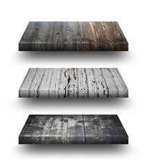 Wooden shelves isolated on whit