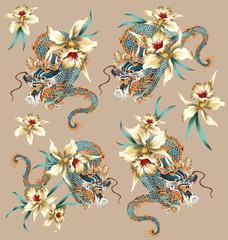 龍と熱帯植物の背景素材
