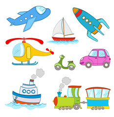set of cartoon transportation on white