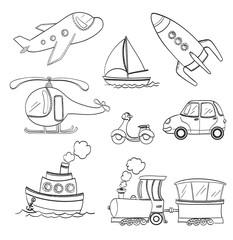 set of doodle transport. black and white line art  vector