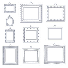 Line Art Frame Photo Picture Painting Decoration Drawing Symbol Template Icon Set on Stylish Black Background Retro Vintage Flat Design Vector Illustration