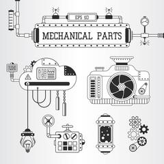 Steampunk mechanical parts vector illustration.