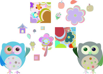 sweet owls, flowers vector