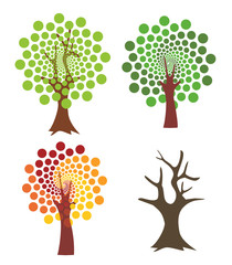 Four abstract trees. Four stylized trees representing four seasons. Vector available.