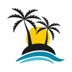 Tropical Island With Sunset And Sea Logo Vector Design