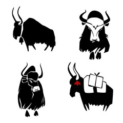 Four black himalayan yaks