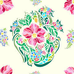 Flower pattern,multicolored on pale beige background.