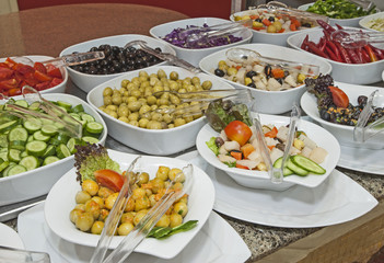 Selction of salads at a restaurant buffet
