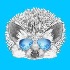 Portrait of Hedgehog with mirror sunglasses. Hand drawn illustration.