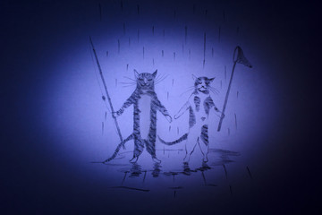 Cat and kitten are going to go fishing
