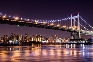 Beautiful night view of New York City and the 59th Street Ed Koch Bridge looking across to Manhattan.