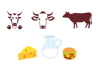 Cow icon and milk products. Logo with cow, logo for milk and meat products.