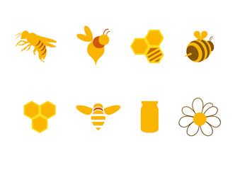 Icons honey and bees. A series of golden bees, honey and honeycombs. Logo for beekeeping. Honey sweet icons.
