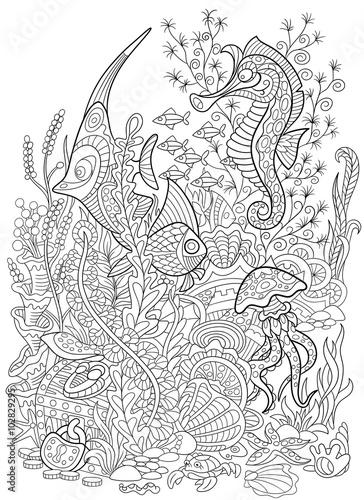 Zentangle stylized cartoon fish, seahorse, jellyfish, crab ...