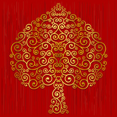 Gold Bodhi Tree shape, Abstract vector tree on red background
