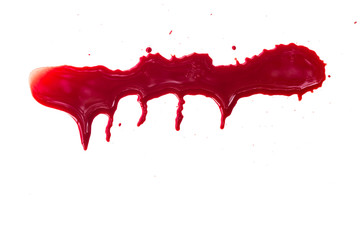 Dripping blood on white background
