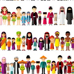 Seamless background with set of multicultural national family.