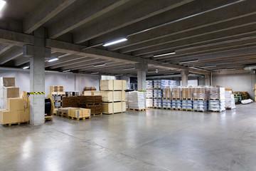 cargo boxes storing at warehouse