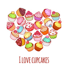 Banner with different cupcakes in a heart shape