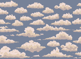 seamless illustration with vintage clouds