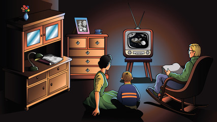 Family watching TV, decade of the 1970's, vector illustration