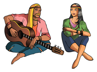 Man and girl, hippie, late 1960's, vector illustration