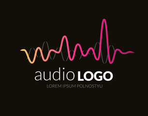 Logo concept sound wave, studio, music, dj, audio system, store, party. Brand, branding, company, corporate, identity, logotype. Clean and modern stylish design