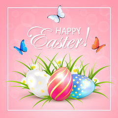 Easter eggs and butterflies on pink background