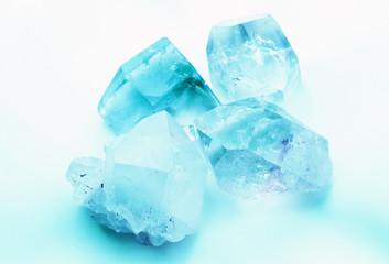 Beautiful ice blue Aquamarine colored semiprecious quartz rock crystals