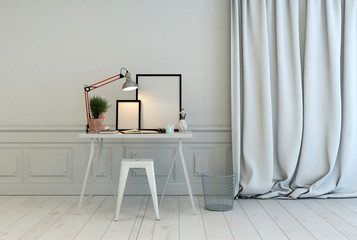 Writing table in a classic white interior