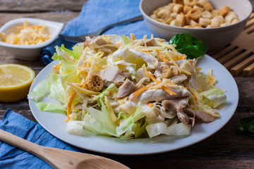 caesar salad on bowl