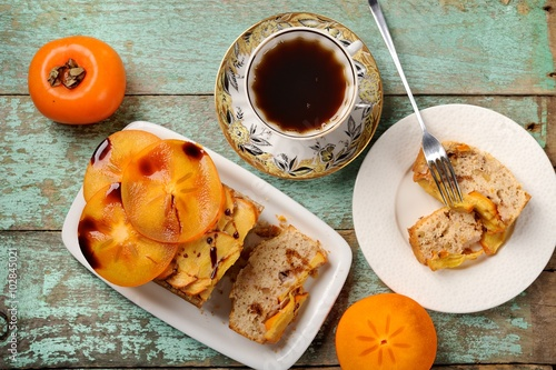 """Homemade persimmon cake with fresh persimmons"""" Stock photo and ..."""