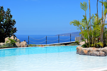 Beautiful pool at tropical garden. Canary Island. Spain.