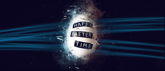 Scratched Egg with Easter Greeting and Lasers
