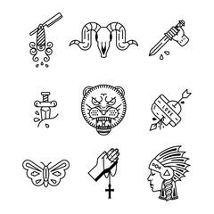 tattoo rockabilly icon set