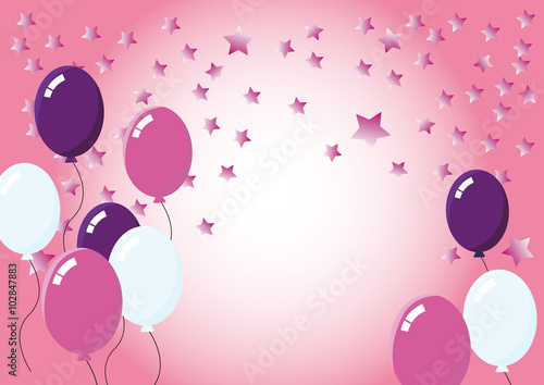 color party balloons sweet pink background with stars wishes for