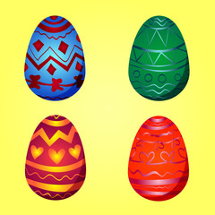 Colorful Easter Egg Set with Seasonal Ornament on a Bright Yellow Background