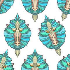Seamless pattern monkey coloring outlines in boho style. Ethnic hare. Pattern with blue mandrill print on T-shirts, cover, postcards. Easter stylish, elegant monkey. Textile, fabric design. Print