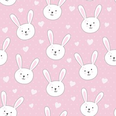 Cute seamless pattern with rabbit in childish style