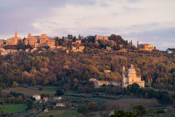 Recess Fitting Athens Medieval and Renaissance town Montepulciano, Tuscany, violet sunset
