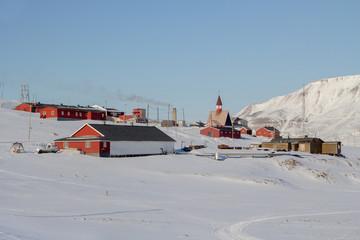 The area near the Church in Longyearbyen, Spitsbergen (Svalbard)
