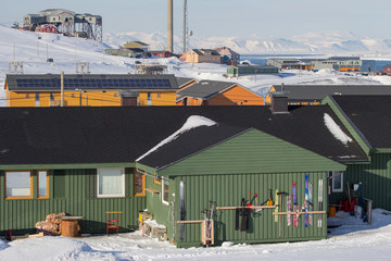 Longyearbyen, Spitsbergen (Svalbard). The view through the house