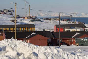 City skyline at Longyearbyen, Spitsbergen (Svalbard).