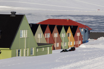 Residental houses in Longyearbyen, Spitsbergen (Svalbard). Norway