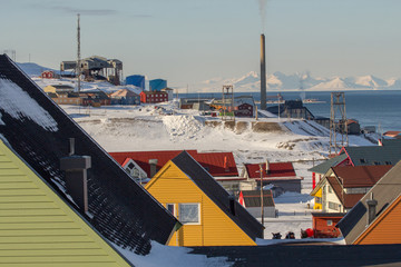 Longyearbyen, Spitsbergen (Svalbard). The view through the roof of houses