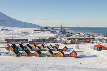 Panoramic views of Longyearbyen, Spitsbergen (Svalbard). Norway