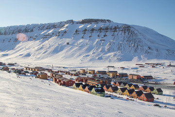 Panoramic views of Longyearbyen, Spitsbergen (Svalbard). Norway