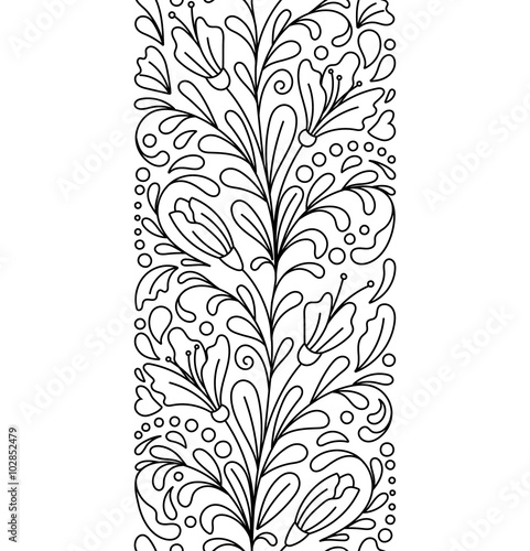 Seamless Borders Vector In Doodle Style Floral Ornate Decorative Valentines Womens