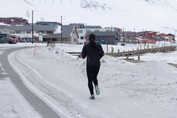 Jogging in Longyearbyen, Spitsbergen (Svalbard). Norway