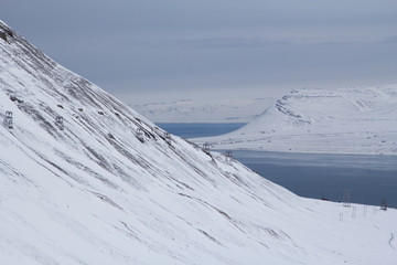 The mountains and Bay near Longyearbyen, Spitsbergen (Svalbard).